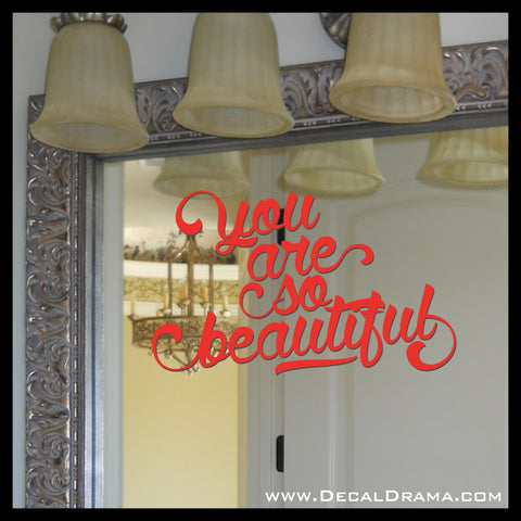 You are So Beautiful Joe Cocker lyric Mirror Motivator Vinyl Decal