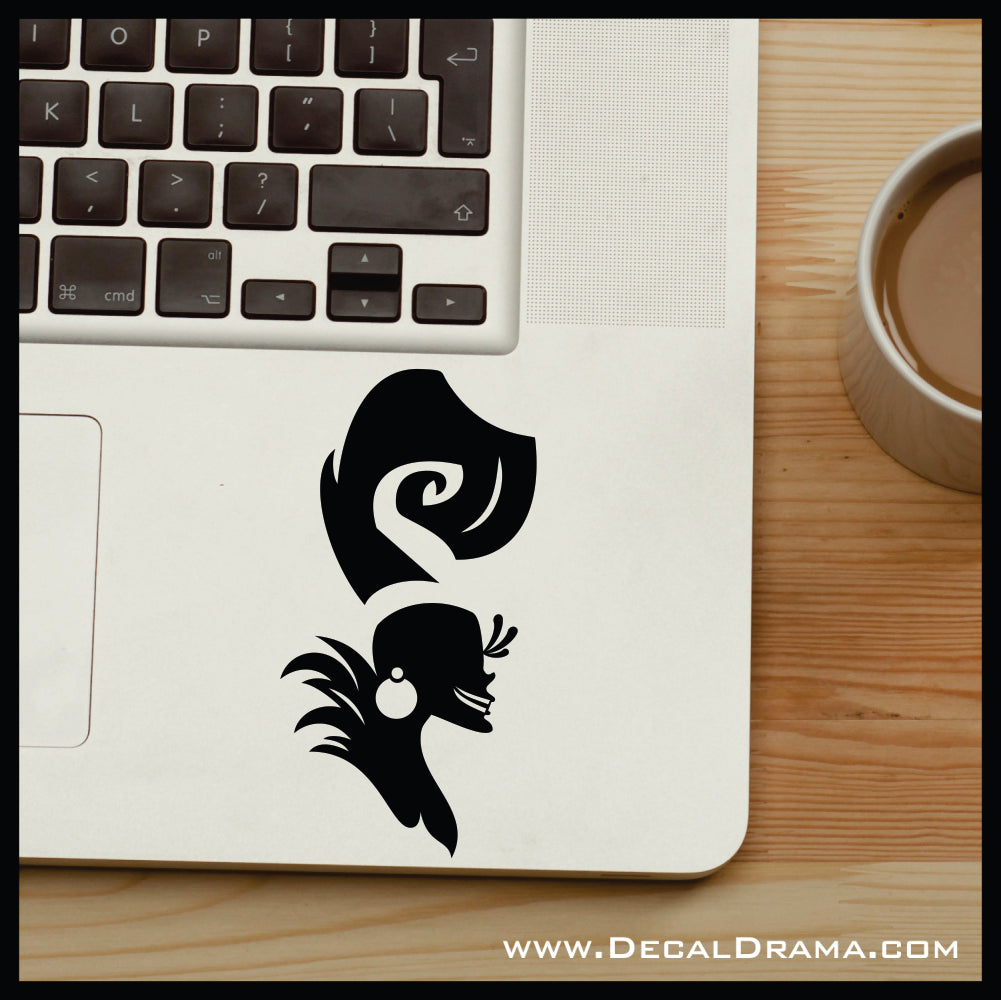 Yzma silhouette, Emperor's New Groove Villain, Vinyl Car/Laptop Decal