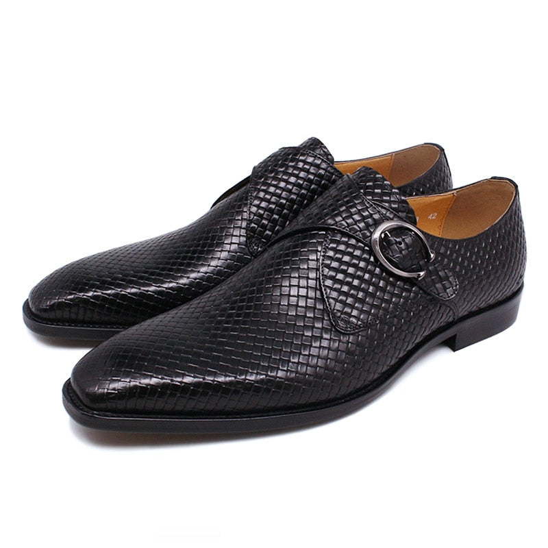 Handmade Leather Slip-On Exotic Texture Loafers Dress Shoes