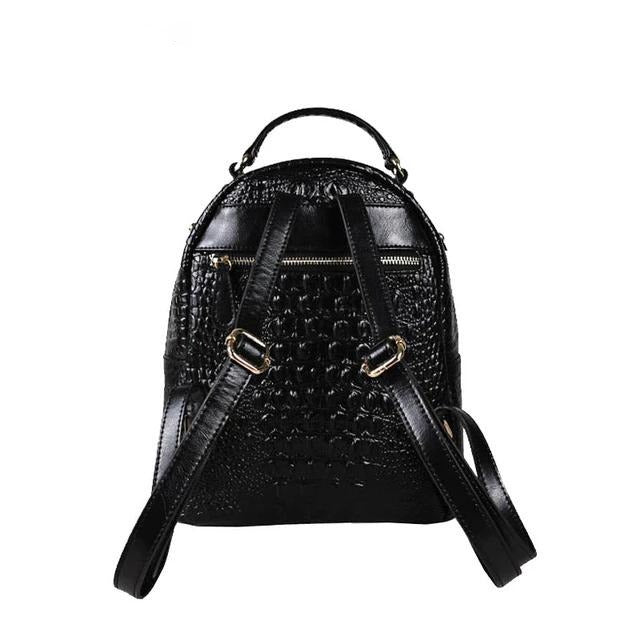 Casual Alligator Grain Pattern Leather Zipper Close Backpack