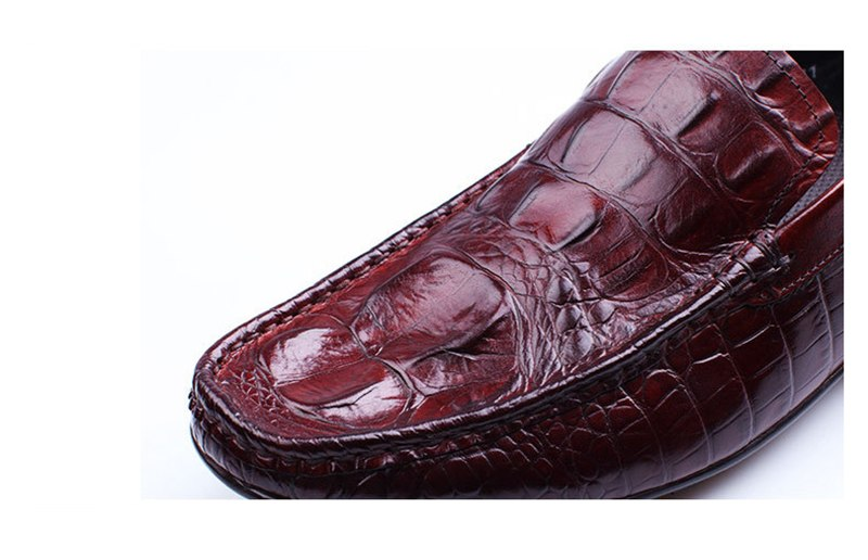 Leather Rubber Outsole Alligator Pattern Penny Loafers