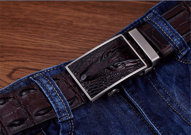Solid Pattern Alligator Texture Automatic Cowskin Leather Belt