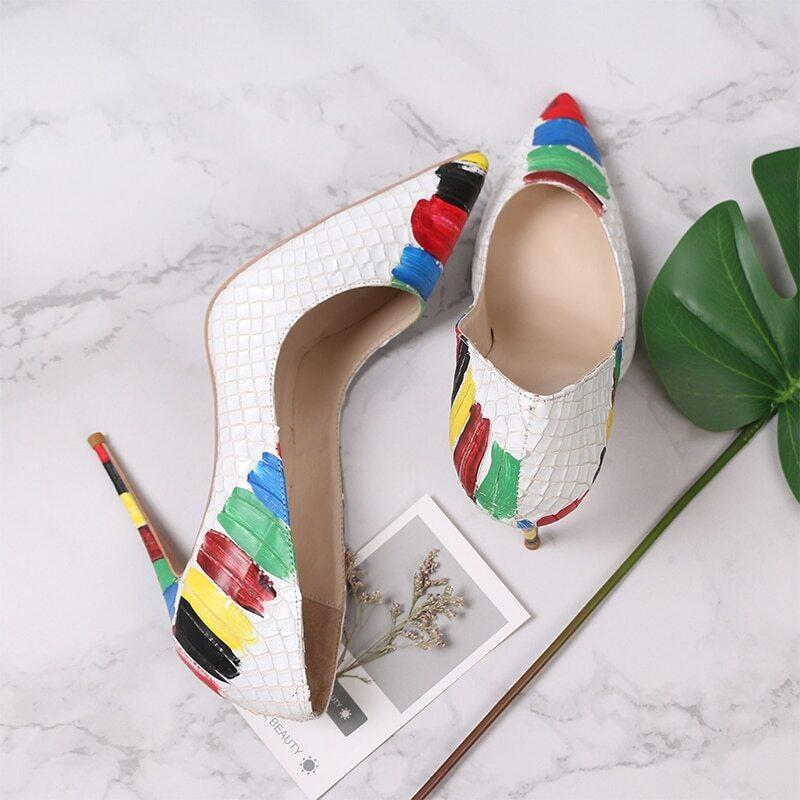 Multi-color Pointed Toe Exotic Embossed Pattern Stilettos High Heels