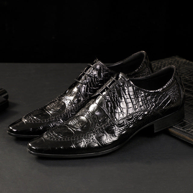 Classic Leather Crocodile Pattern Oxford Dress Shoes