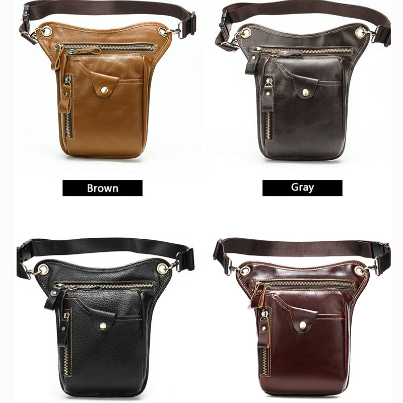 Exotic Leather Pillow Shape Motorcycle Leg Drop Thigh Waist Pack