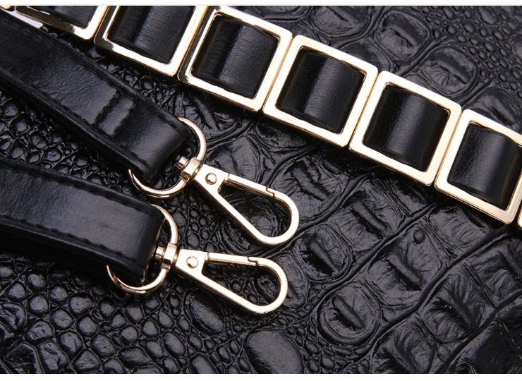 Fashion Crocodile Texture Luxury Leather Envelope Evening Clutch Bags