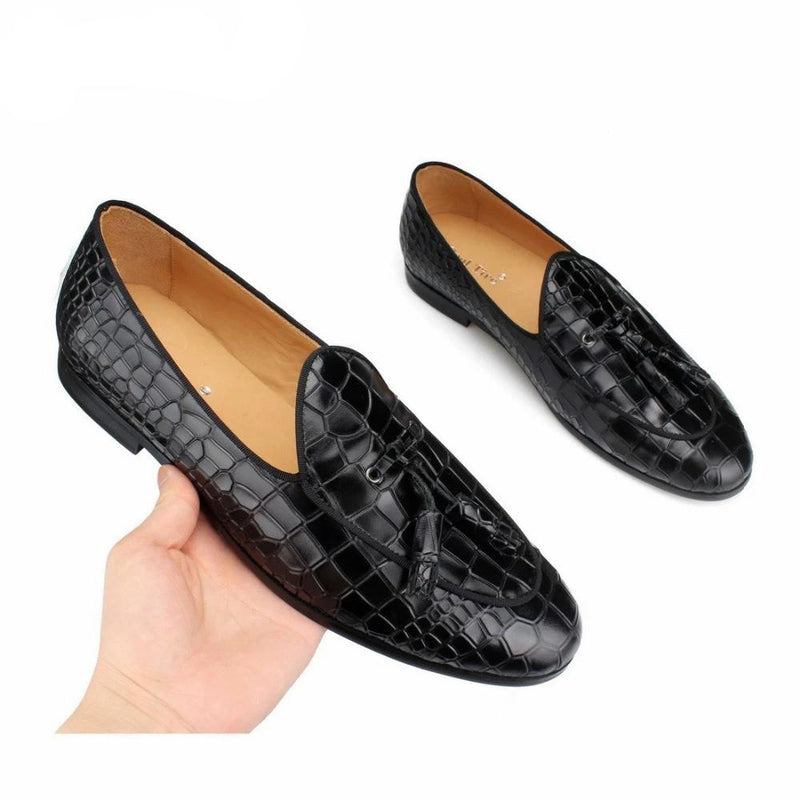 Genuine Leather Crocodile Texture Slip-On Solid Pattern Pump Loafers