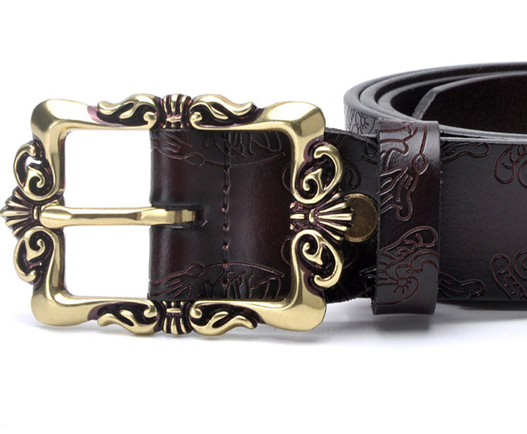Exotic Style Vintage Fashion Wide Leather Strap Floral Belts