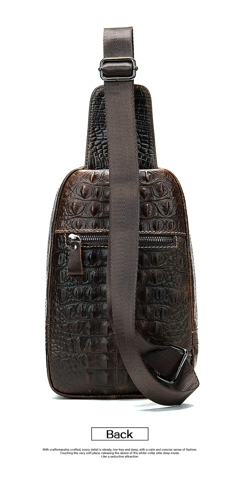 Genuine Cow Leather Cross-Body Alligator Pattern Messenger Sling Bags
