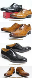 Leather Pointed Toe Slip-On Exotic Casual Lace-Up Oxford Shoes