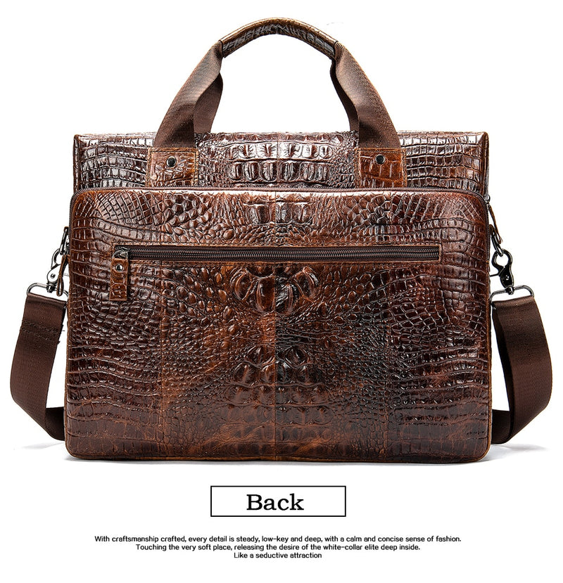 Slim Crocodile Pattern Soft Handle Leather Briefcase