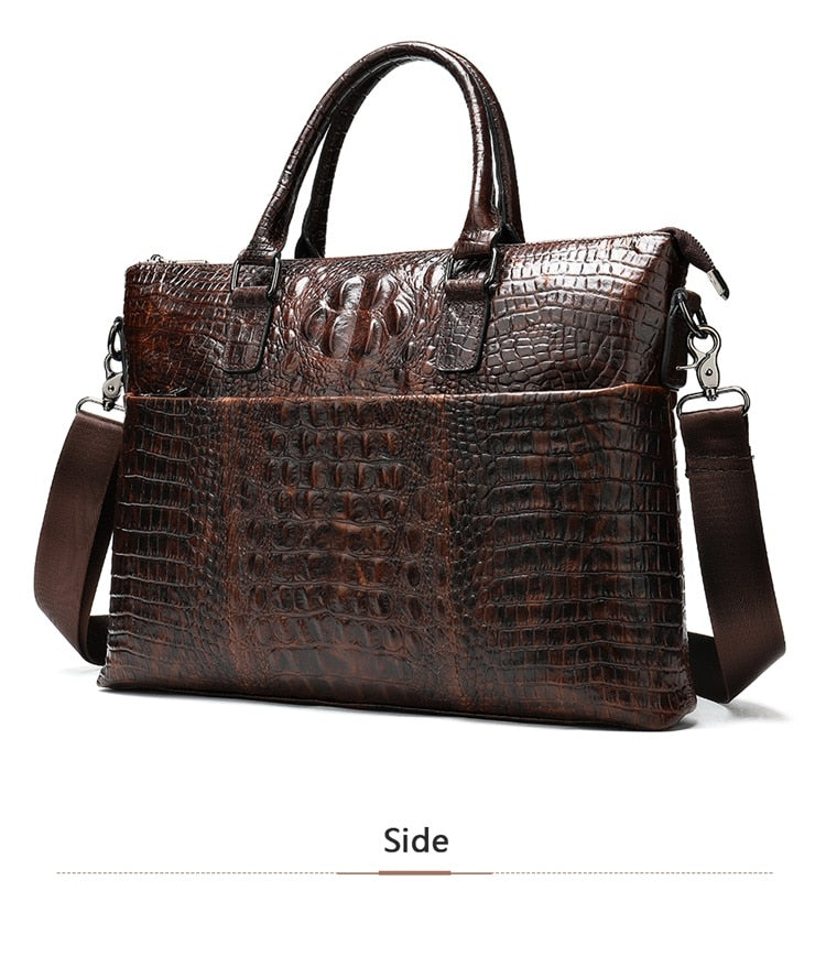 Leather Crocodile Pattern Two Strap Office Laptop Briefcase