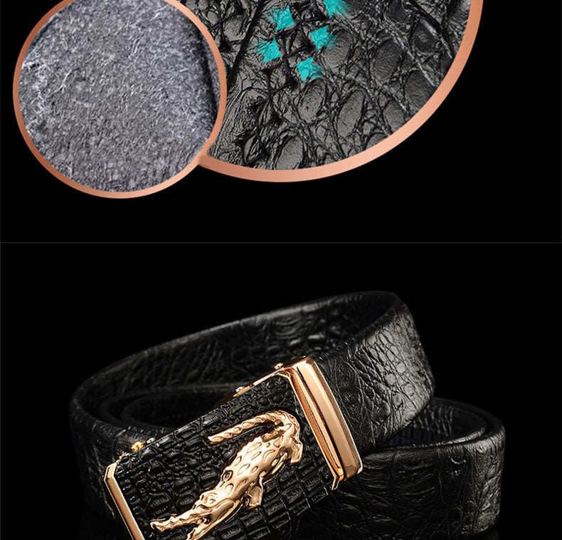 Exotic Crocodile Pattern Leather Automatic Alligator Head Belt