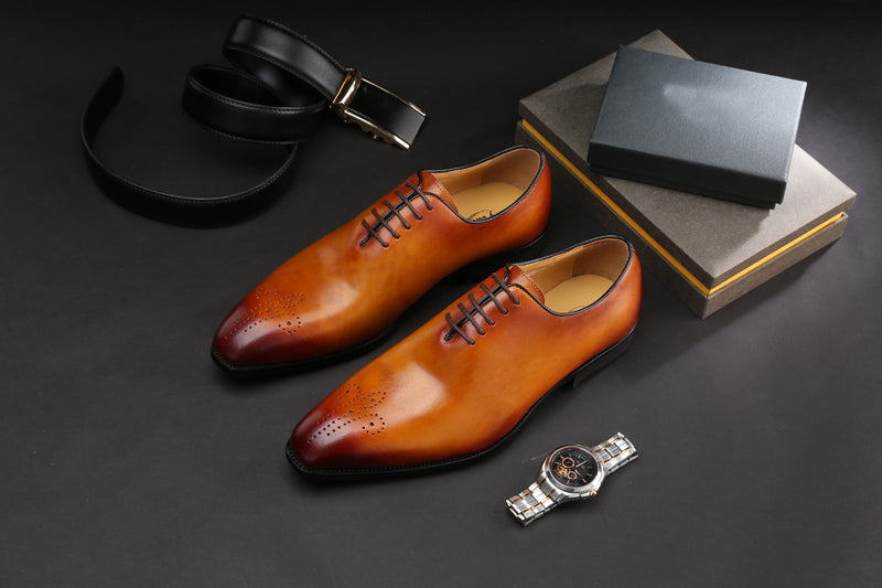 Leather Plain Exotic Lace-Up Carved Oxford Brogue Dress Shoes