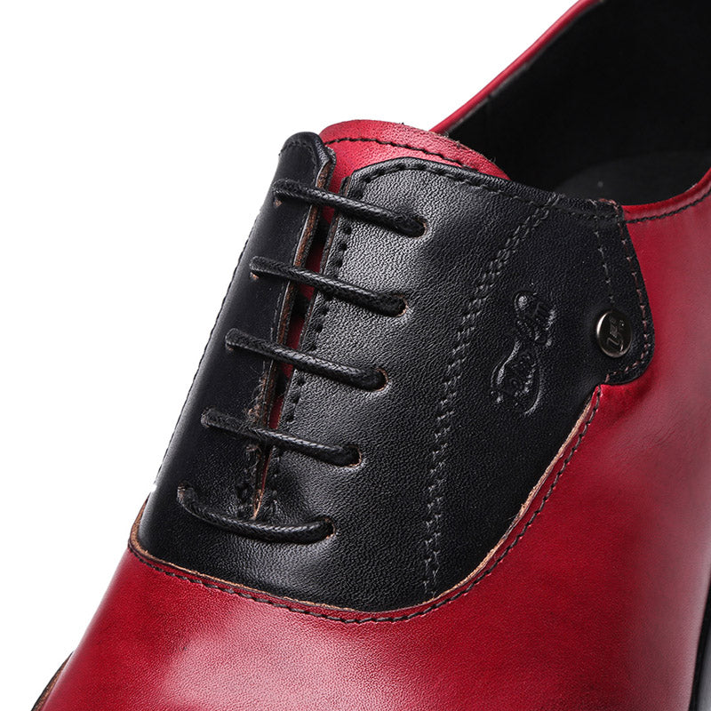 Leather Wingtip Pointed Toe Lace-Up Exotic Oxford Brogue Dress Shoes