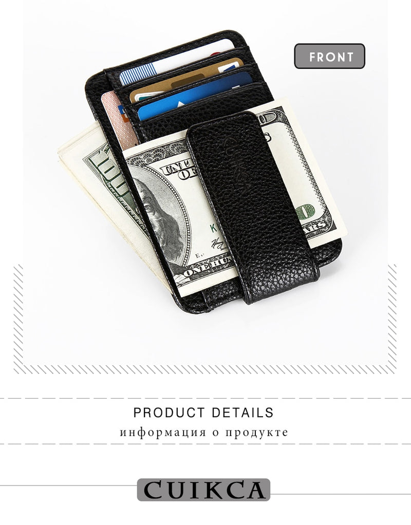Ultra-Thin Exotic PU Leather Magnet Clip Solid Pattern Slim Money Case