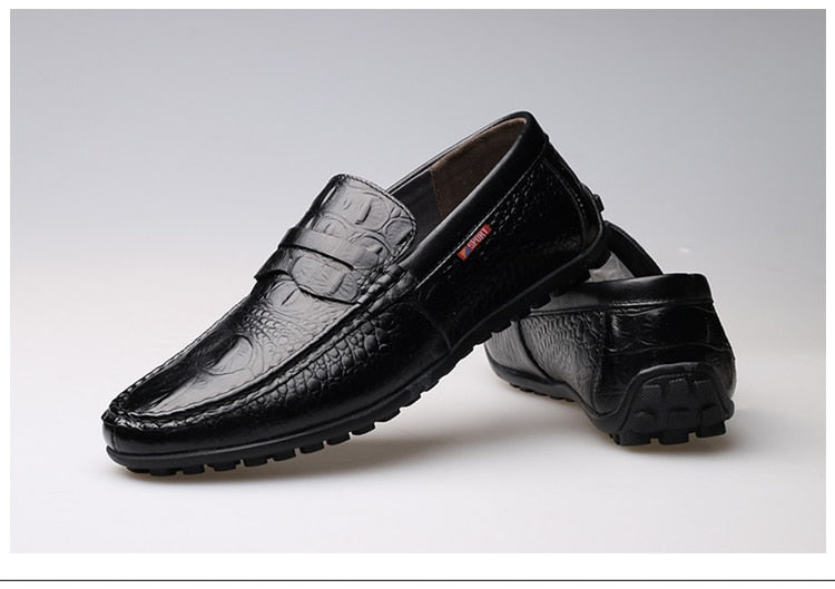 Leather Round Toe Slip-On Embossed Crocodile Pattern Penny Loafers