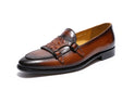 Leather Double Strap Slip-On Print Pattern Rubber Sole Exotic Loafers