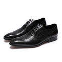 Leather Pointed Toe Solid Exotic Pattern Lace-Up Oxford Dress Shoes