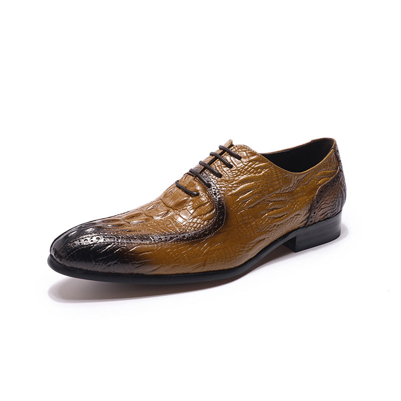 Crocodile Pattern Pointed Toe Lace-Up Leather Oxford Casual Shoes