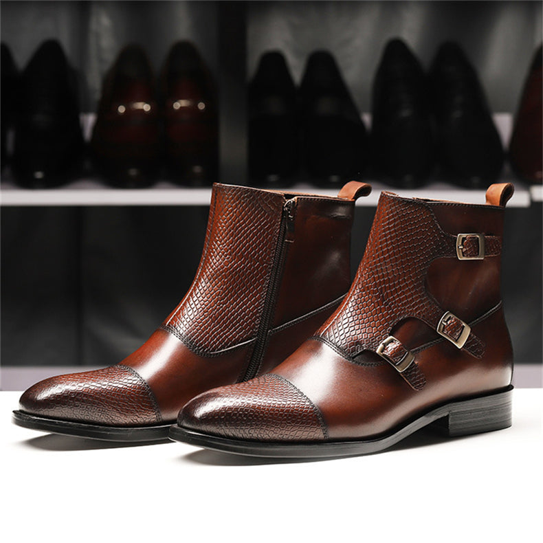 Pointed Toe Exotic Pattern Leather Handmade Chelsea Brogue Boots