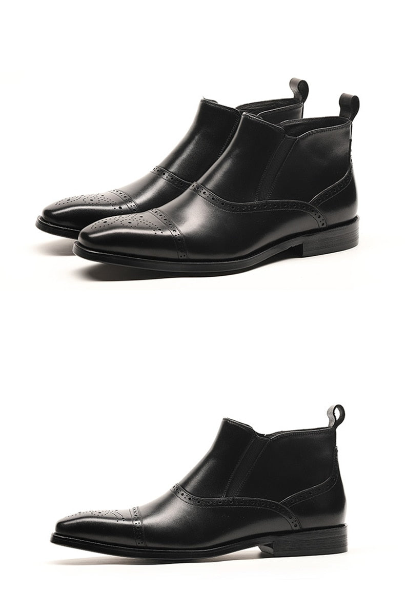 Exotic Texture Full Grain Cow Leather Flat Ankle Chelsea Boots