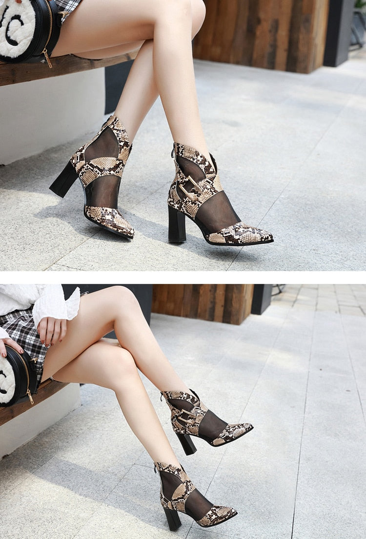 Serpentine Texture Zipper Closed High Heel Mesh Ankle Boots
