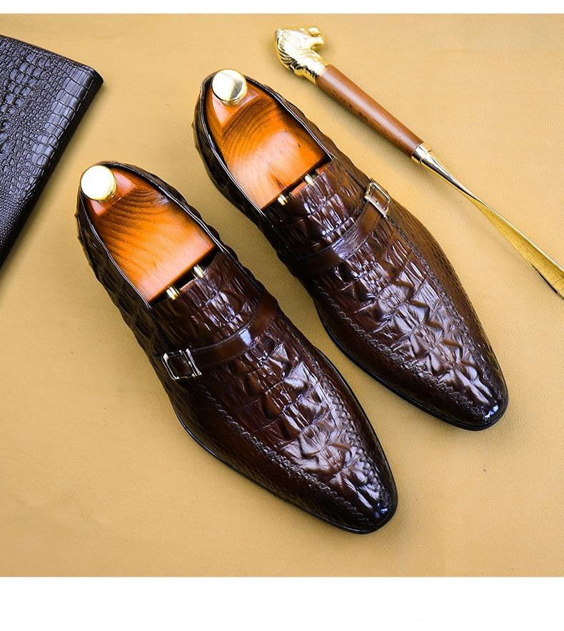 Formal Leather Crocodile Pattern Slip-On Oxford Dress Shoes
