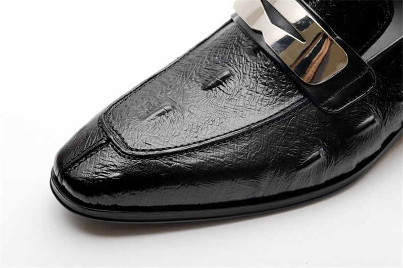 Full Grain Leather Alligator Texture Slip On Pointed Toe Oxford Loafers