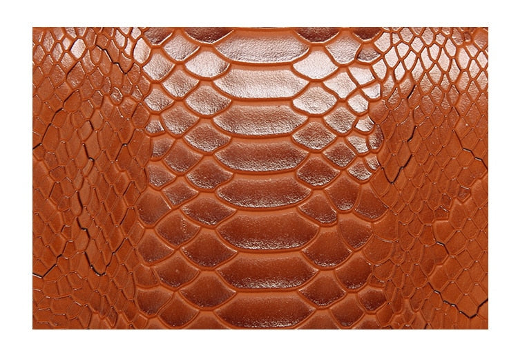 Crocodile Texture Exterior Pocket PU Leather Satchel Shoulder Bag