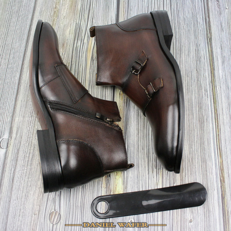 Leather Double Buckle Monkstrap High Grade Exotic Ankle Boots