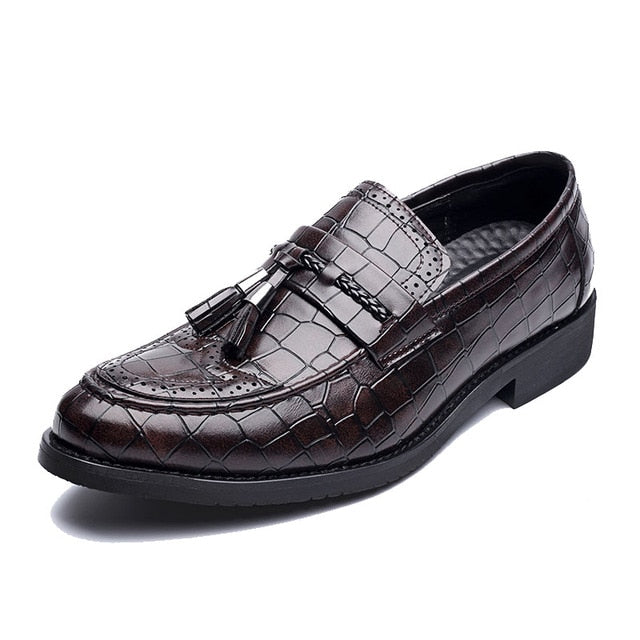Breathable Leather Slip-On Croco Pattern Tassel Penny Loafers
