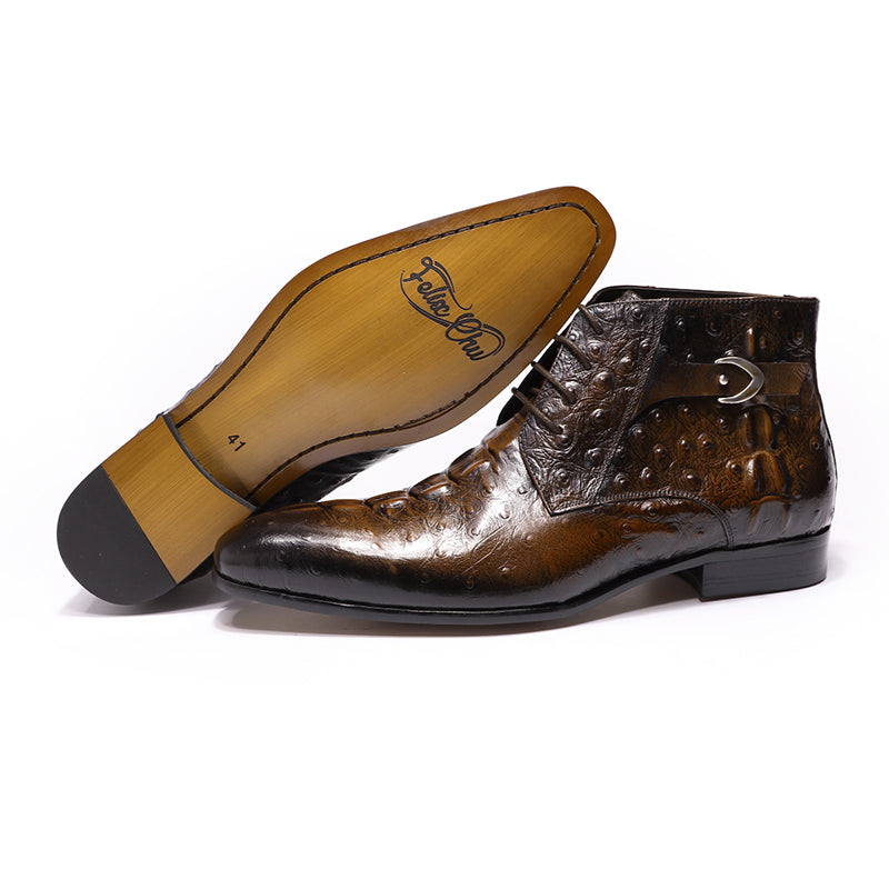 Glossy Croco Pattern Lace Up Genuine Cow Leather Boots