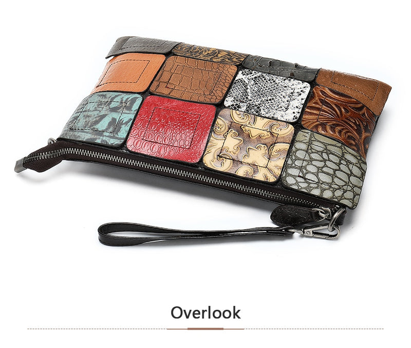 Exotic Textured Leather Patchworked Clutch Crossbody Shoulder Bag
