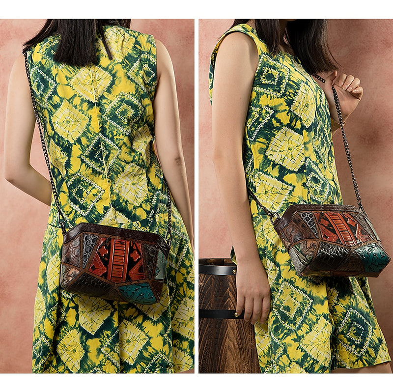 Exotic Textured Leather Floral Crossbody Messenger Shoulder Bag