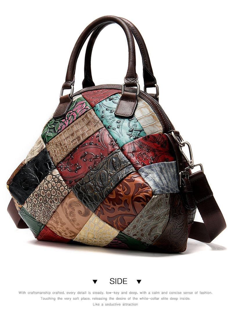 Exotic Patchworked Textured Leather Crossbody Messenger Shoulder Bag