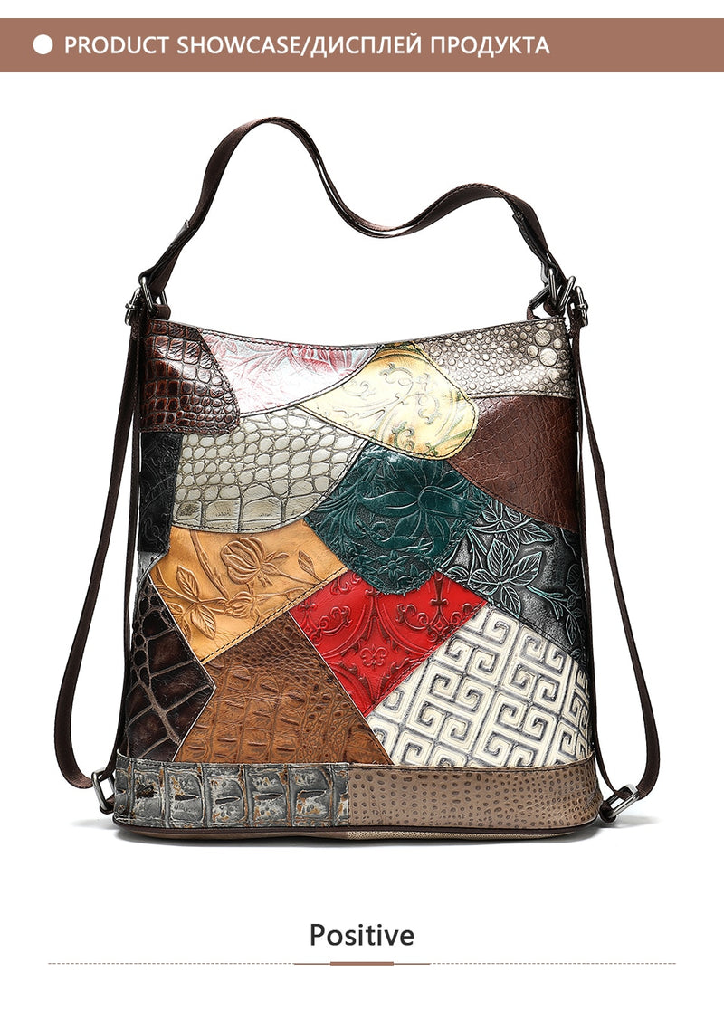 Exotic Texture Pathcworked Bohemian Leather Bucket Shoulder Bag