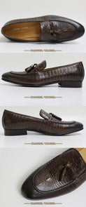 Exotic High Grade Leather Slip-On Mixed Pattern Tassel Loafers