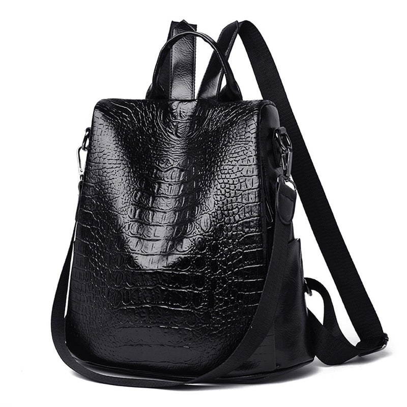 Classic Croc Pattern Soft Handle Zipper Close Leather Vintage Backpack