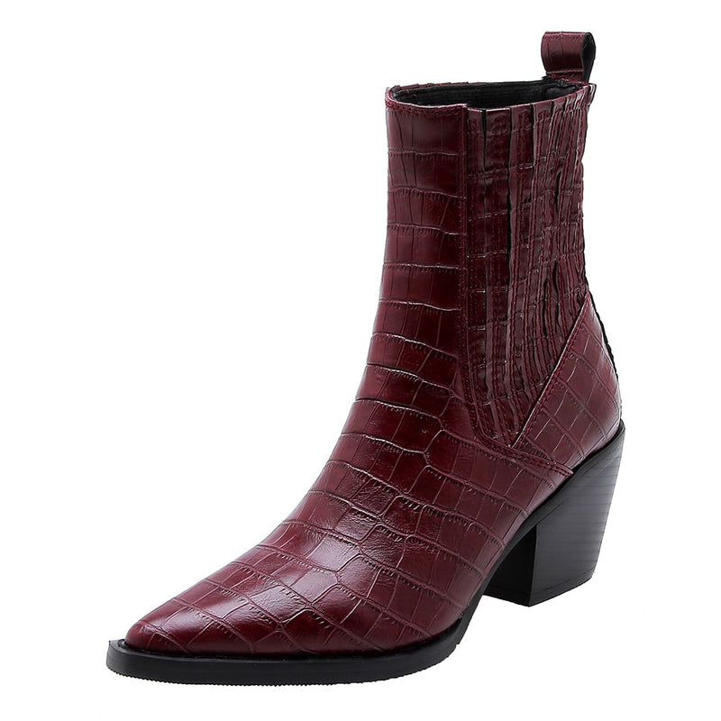 Embossed Leather Microfiber Exotic Cuban Heel Pointed Toe Ankle Boots