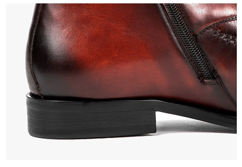 Exotic Texture Cow Leather Flat Zipper Ankle Chelsea Boots