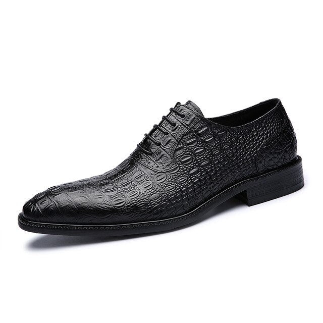 Leather Crocodile Pattern Lace-Up Casual Oxford Shoes