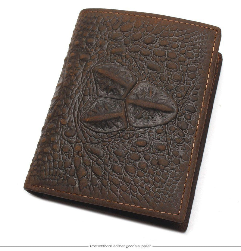 Personalized High Quality Crocodile Embossed Genuine Cow Leather Wallets