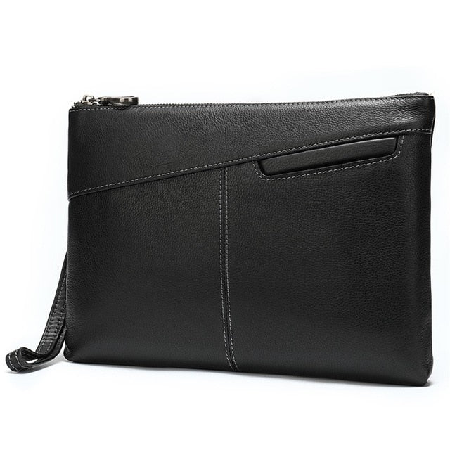 Soft Genuine Cow Leather Zipper & Hasp Money Clutch Wallets
