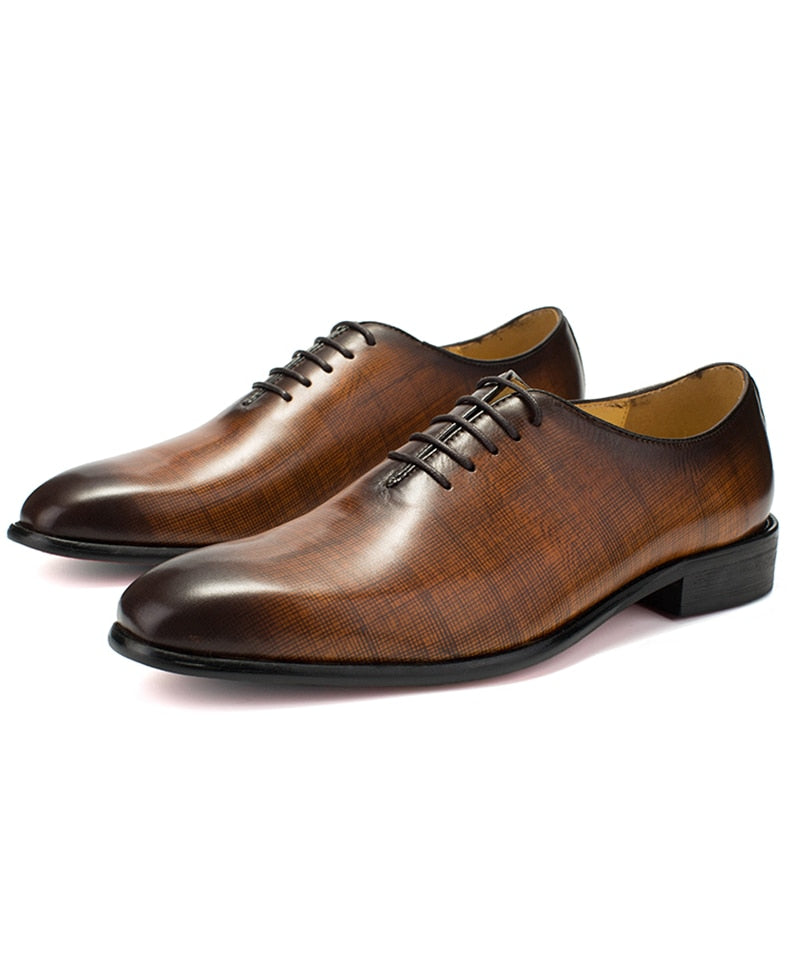 Exotic Glossy Texture Leather Lace-Up Oxford Wedding Dress Shoes