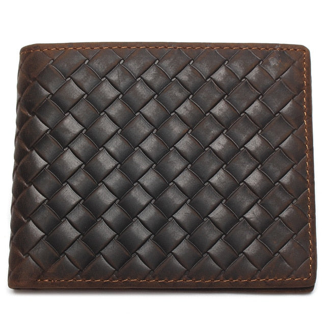 Stylish Fashionable Exotic Woven Pattern Leather Short Coin Purse Wallet