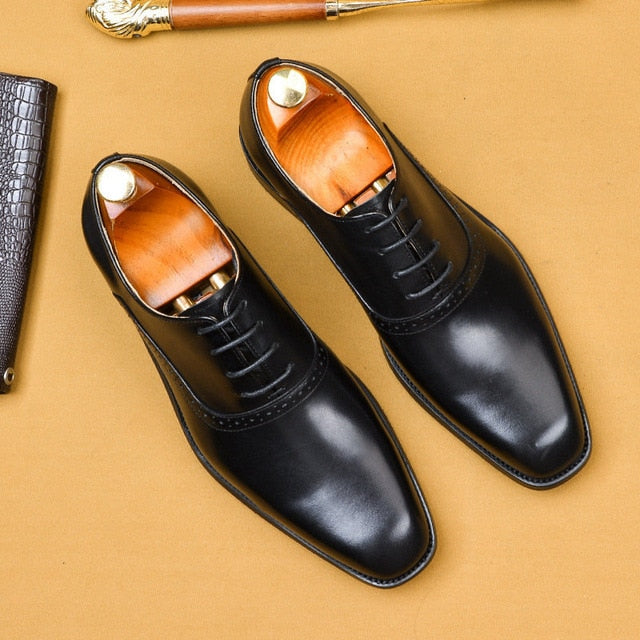 Exotic Texture Luxury Leather Lace-Up Wedding Dress Shoes