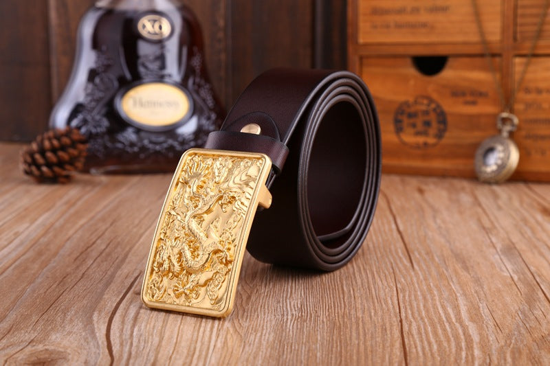 Exotic Luxury Fashion Brass Loong Dragon Buckle Leather Belt