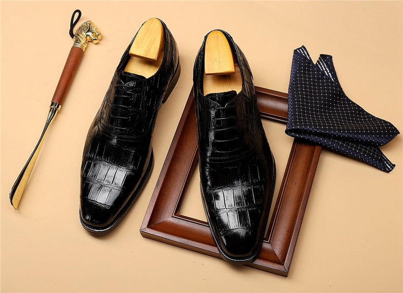 Full Grain Leather Vintage Croc-Pattern Oxford Dress Shoes