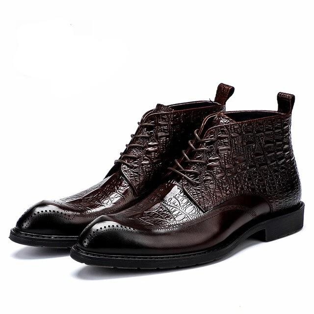 Cow Leather Alligator Texture Ankle High Lace Up Flat Brogue Boots